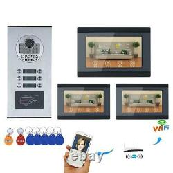 3 Apartment RFID Record Wired Wifi Video Door Phone Intercom Support IOS Android