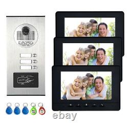 3 Units Apartment Video Intercom Door Phone ID system 7 Monitor for 3 Household