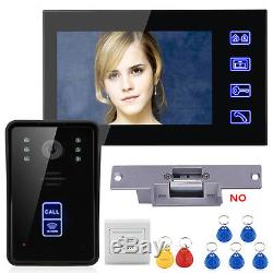 7LCD RFID Video Door Phone Intercom Doorbell Touch Button +Electric Strike Lock