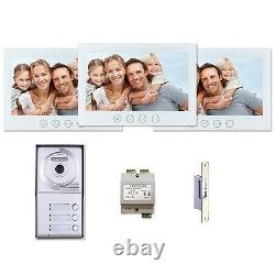 7LCD Wired Video Door Phone Intercom Doorbell Home Security System 3 Monitor
