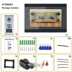 7 6Apartment Family Video Door Phone Intercom Wired Wifi RFID Record 6 Monitor
