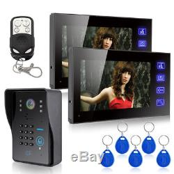 7 LCD Wired Video Intercom Door Phone System Doorbell 1 Camera 2 Touch Monitors