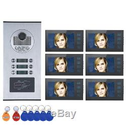 7 LCD Wired Wifi 6 Apartment/Family Video Door Phone Intercom System HD 1000TVL