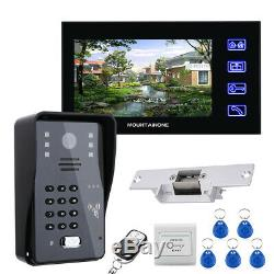 7 Lcd Video door phone intercom system RFID door access control kit outdoor cam