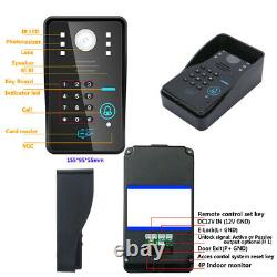 7''Record Wired Video Door Phone Intercom System with RFID Password 1080P Camera