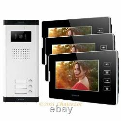 7 Wired Video Door Phone Intercom Kit with Dual-way Intercom for 3 Apartment
