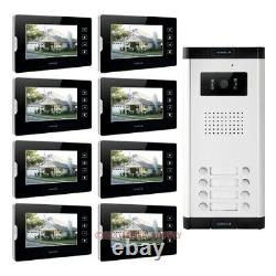 7 Wired Video Door Phone Intercom Kit with IR Camera for 8 Apartment
