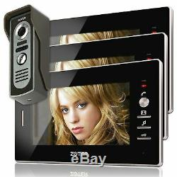 7 inch Video Door Phone House Gate Intercom with 3 Black Indoor Monitor System
