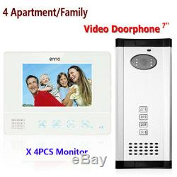 Apartment 4 Unit Intercom Entry System Wired Video Door Bell Phone Audio Visual
