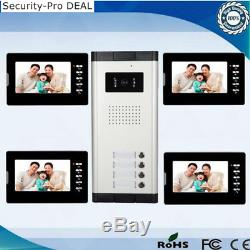 Apartment 4 Units Wired 7 Video Door Phone Intercom System with 4 HD Monitors