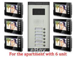 Apartment 6 Units Wired Video Door Phone Audio Visual Entry Intercom System 1V6