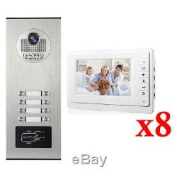 Apartment Wired Video Door Phone RFID HID Audio Visual Intercom System 8 Units