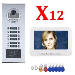 Apartment Wired Video Door Phone RFID HID Card Visual Intercom System 12 Units