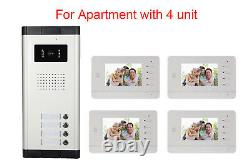 Apartment with 4 Units Intercom Entry System Wired Video Door Phone Audio Visual