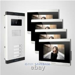 HOMSECUR 7 Video Door Phone Intercom System with Silver Camera for 4 Apartment
