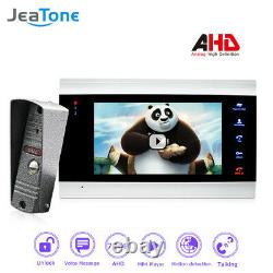 JeaTone 720P/AHD Intercom 4 Wired 7'' Video Door Phone DoorBell Security Kit
