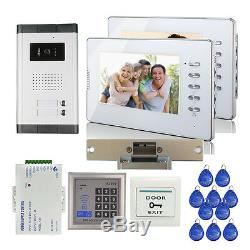 Wired Apartment 7 Video Door Phone Intercom For 2 Family + E-lock RFID Access