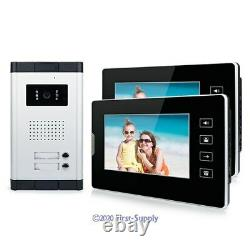Wired Video Door Phone Intercom Entry System 7 Monitor For 2 Units Apartment