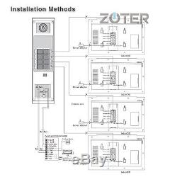 ZOTER 7 LCD Video Door Phone Intercom RFID Security System 4 to 12 Multi-Family